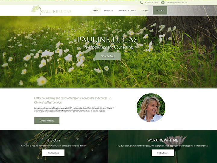 The Pauline Lucas website created by it'seeze Milton Keynes