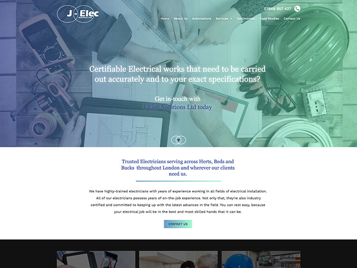 The J-Elec website created by it'seeze Milton Keynes