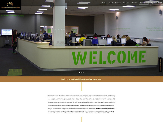 Example website, Cloud Nine Creative Interiors