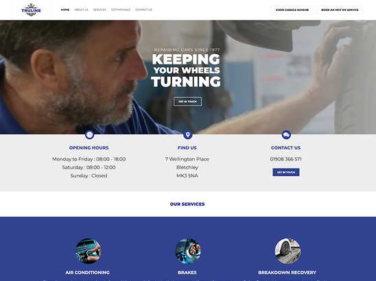 Example Website, Truline Garage Services